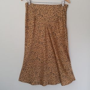 NWOT Bias cut skirt animal print gold midi skirt